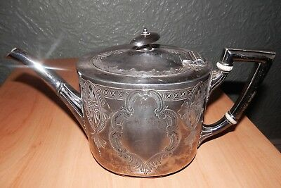 ANTIQUE SILVER PLATE ORNATE TEA POT c.1850-1899 by George Gordon &Son, Sheffield