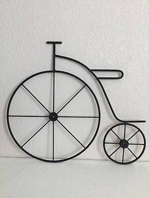 Vintage Bicycle Wrought Iron Metal Black Wall Art Wall Hanging Sculpture 16 3/4""