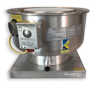 """1200 CFM  Direct Drive Upblast Food Truck Exhaust Fan with 13.75"""" Whee"""