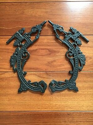 "Vintage Pair of Architectural Metal Cast Iron Scroll Pieces 12"" X 7"""
