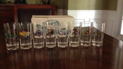 Set of 8 Avon Classic Antique Car Tumbler glasses- New in original box