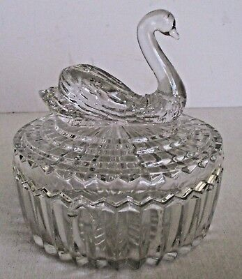 Vintage Swan Clear Glass Vanity Box Powder Dish Lipstick Holder by Jeanette