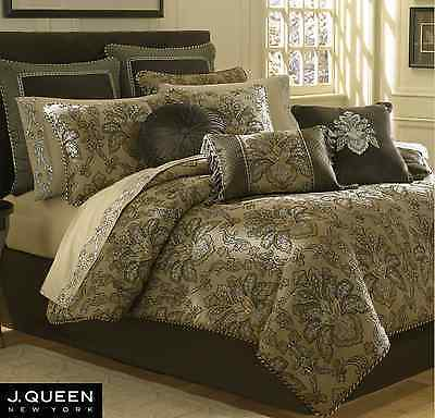 """J QUEEN New York TOSCA Pole Top DRAPES /& Patriot VALANCE Taupe 5PC Set 84/"""""""