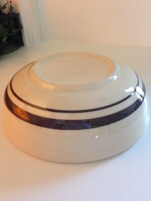 """McCoy Cream with Brown Bands 1413 6-1/8"""" Diameter Soup/Bowl USA"""