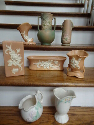 Lot of Vintage Weller Art Pottery 8pcs Peach Cameo Rose Wild Rose White Floral
