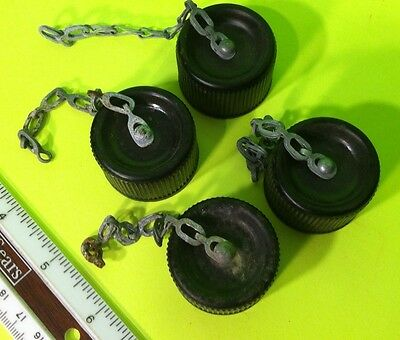 FOUR WW2 ORIGINAL WWII US ARMY  CANTEEN TOP CAPs w/Chains & Cork Inserts