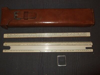 "Vintage SUN Hemmi Slide Rule (Japan) with Leather Case 11"" RARE Buckle Working"