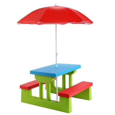 Picnic Table w/Umbrella 4 Seat Kids  Furniture Patio Bench Garden Toddler New