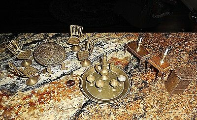 Vtg Ornate Brass Doll Toy Miniature Furniture Chairs Table Glasses Candles 16 pc