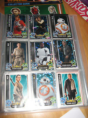 Topps Star Wars Force Attax Force Awakens card bundle in binder 2016 100 cards