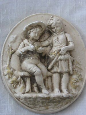 Vintage Embossed Little Boy & Girl White Wall Plaque Chalkware
