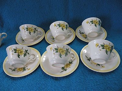 """Knowles Vintage """" Buttercup"""" Design Cups & Saucers Yellow Trim SIX"""