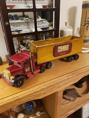 "Handcrafted Wooden Semi Truck 14""L~Tamko Roofing Products 60th Anniversary"