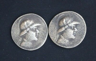 Indo Greek (Bactrian Empire) Eucratides 450 BC to 100AD Bronze Pair Modern Coins