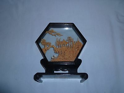 Vintage Chinese Hand Carved Cork Art in Glass Case Pagoda Diorama Storks