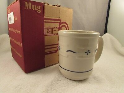 New Longaberger Pottery Ceramic Coffee Cup  Blue  Woven Traditions   B-7
