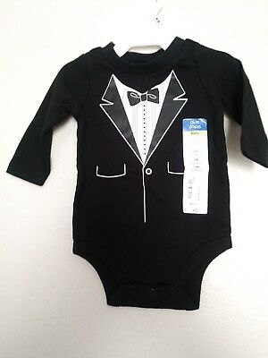 baby boy tuxedo printed onsie formal suit black and white outfit 3 months nwt