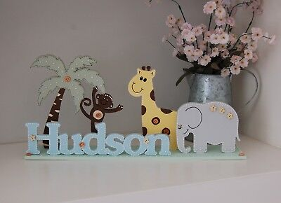 Zoo Nursery Decor Bedroom Name Sign PERSONALISED Baby Gift Animal Theme Unique