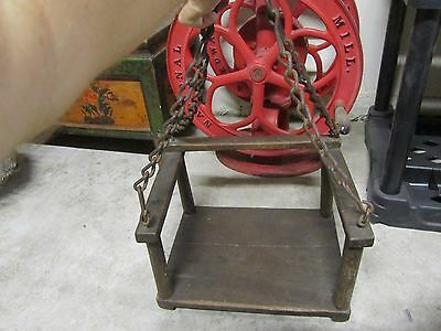 Vintage Garden Swing Old Yard Tree Toy Wood Seat Iron Chain Child Kids Solid