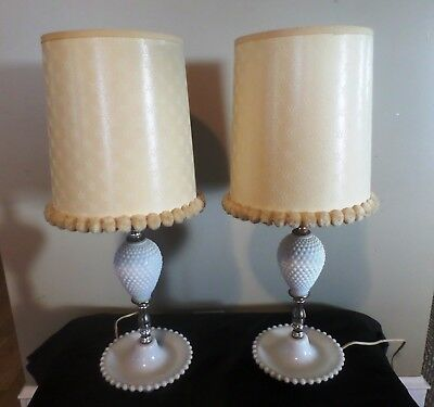Pair of Vintage White Milk Hobnail Glass Table Lamps with Shades