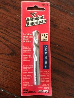 """New Vermont American 3/8"""" Left-Handed Extractor Drill Bit Set USA 13474"""