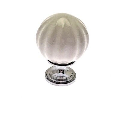 Pair of 30mm White Pumpkin Ceramic Door Knob with Chrome base and separate screw