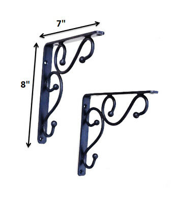 Traditional Shelf Bracket, Black 7-Inch X 8-Inch- Cast Iron-Set of 2, Handcrafte