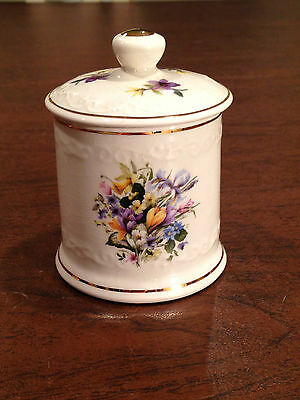 Vintage FORTNUM & MASON Lidded Floral Jelly Jam Honey Mustard Jar by CROWN DEVON