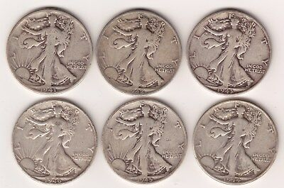 Lot of six Silver Walking Liberty Half Dollars - Silver Coins, US Mint, Collect