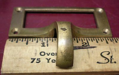1 Vintage Cast Brass File Cabinet Finger Drawer Or Bin Pulls #1