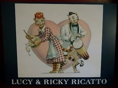 Lucy & Ricky Ricatto spoof on Ricardo Cats metal sign