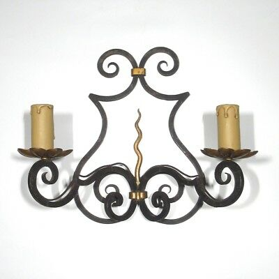 "Vintage French Wrought Iron Sconce and Tole, Hand Forged, ""French Riviera"" Style"