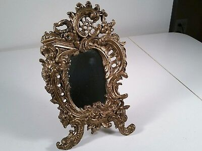 VINTAGE BAROQUE STYLE SOLID CAST / BRASS EASEL with MIRROR for TABLE or WALL