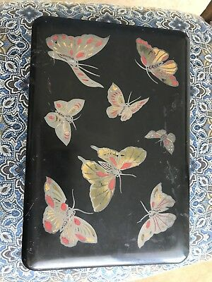 Vintage Antique black laquer box With Inlaid Butterflys