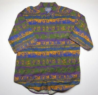 Vtg Introspect Jeanswear Button Up Shirt Adult Men's Size Large Multi-Colored
