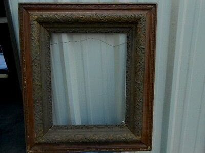 "Antique Vintage Ornate Rococo  Gesso Gold Oak Wood Picture Frame 31"" x 27"" As Is"
