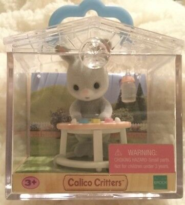 Calico Critters Baby Carry Case Gray Bunny in Walker HARD TO FIND
