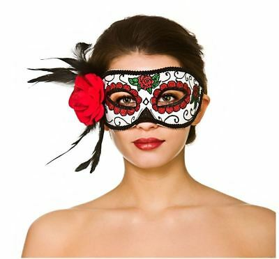 Deluxe Day Of The Dead Adult Halloween Masquerade Glitter Eyemask With Flower