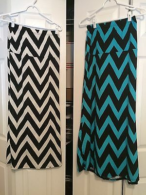 Lot Of 2 Very Stretchy Chevron Maxi Skirts Xl But Fits Like Small
