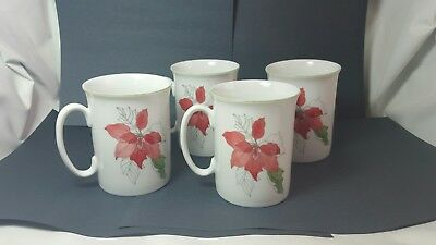 "4 Block Spal Poinsettia Straight Side Cups Mugs 3 5/8""""  Goertzen - Christmas"