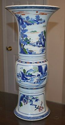 An antique Chinese porcelain polychrome trumpet vase, 18th/19th century