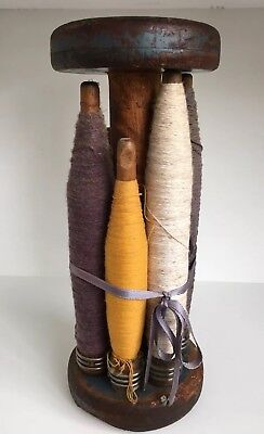 Antique Wooden Spool with Bobbins