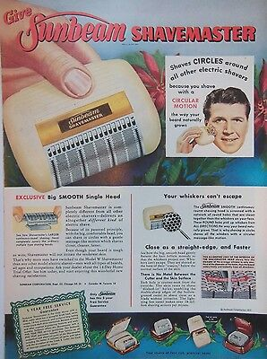 SUNBEAM SHAVEMASTER SHAVING AD 1950s original retro vintage advert advertising
