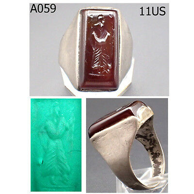 Ancient Greek Roman King Intaglio Carnelian Stone REAL Silver Ring Size 11 #A59