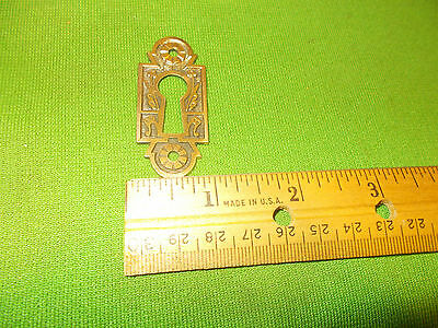VINTAGE CAST  BRASS EASTLAKE   DRESSER DRAWER DESK  Escutcheon Key Hole Cover