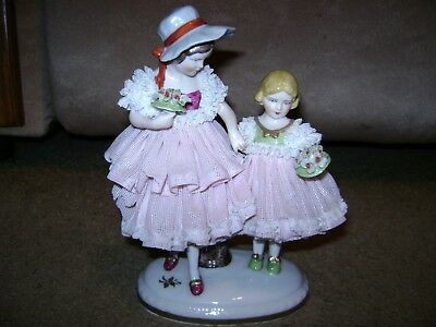 """Vintage Germany Dresden Figure...Young Girls w/Floral Bouquets....8"""" x 5"""""""