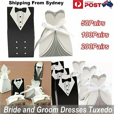 50-200Pairs Tuxedo Dress Groom Bride Wedding Favor Gift Candy Boxes Gift Packag