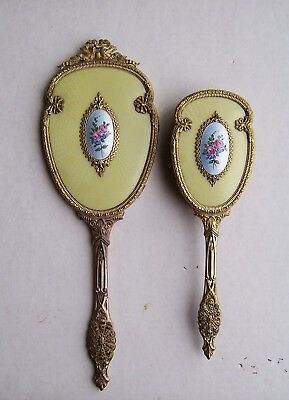 Antique Vintage Guilloche Enamel Vanity Set French Bow Mirror and brush Ormolu