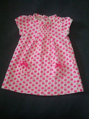3-6 M Months Baby Girl Carters Dress Polka Dot Spring Summer Fall Pink Bows Whit