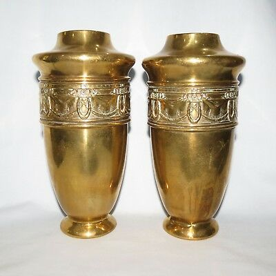 beautiful pair of ART NOUVEAU BRASS VASES GOOD QUALITY GENUINE OLD